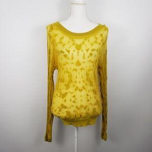 Cabi ochre burnout mustard sweater top sheer 477 M
